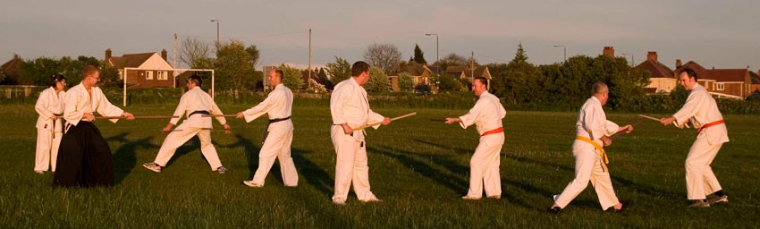 Training aiki weapons outside